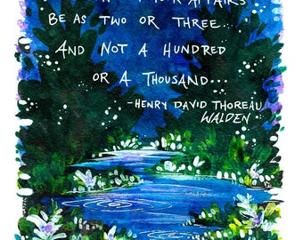 "Henry David Thoreau Illustrated Quote 5"" x 7"" Colorful Art Print"