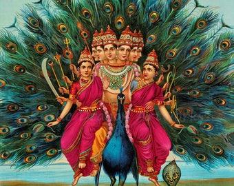 """Raja Ravi Varma """"Sri Shanmukha Subrahmanya Swami"""" Murugan Skanda Kumara Peacock India Hindu 1901 Reproduction Digital Print  Wall Home Decor"""