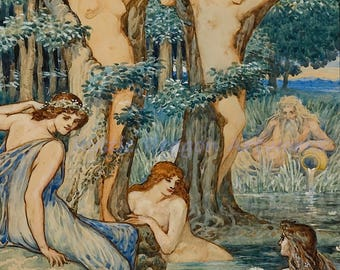 "Walter Crane ""Nyads and Dryads"" 1800s Reproduction Digital Print Nymphs Female Spirit Forest Tree Nymph Folklore Greek Mythology"