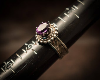 Amethyst solitaire ring, Sterling silver ring with natural purple amethyst