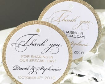 Set of 25 Wedding Thank You Tags -  Black and Gold Thank You Tag - Gold Glitter Tag - Personalized Thank You Tag - Shimmer Tag