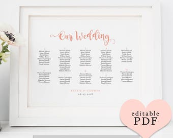Wedding table plan PDF templates, seating charts, Bettie | 6 sizes including 18x24, 24x36, A1, A2, A3 | Landscape | Edit in ACROBAT