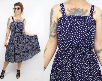 Vintage 70's Navy Blue Dot Sun Dress / 1970's Sundress / Sleeveless / Summer / Women's Size Small