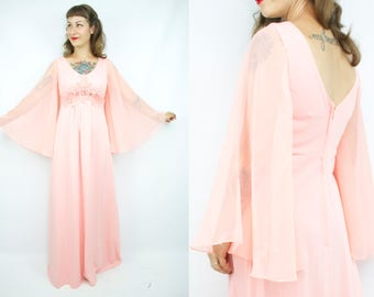 Vintage 70's Salmon Pink Sheer Angel Sleeve Maxi Dress / 1970's Bell Sleeve Dress / ABBA / Women's Size Small