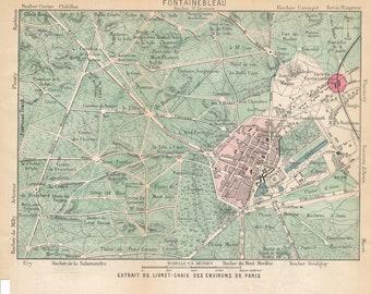 1895 Fontainebleau France Antique Map