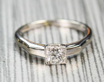 Vintage Diamond Engagement Ring Round Brilliant Cut Diamond Ring 18k White Gold Diamond Engagement Approx 1/3 Carat Diamond Solitaire Ring