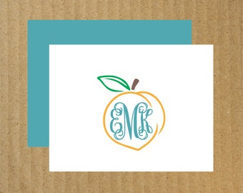 Peach Note Cards, Set of 10, Peach Monogram Note Cards, Georgia Peach, Peach Monogram, Thank You Cards, Monogram Thank You Cards