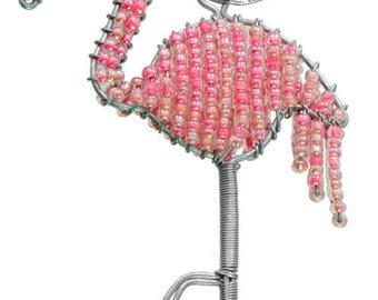 Beaded Flamingo Keychain or Zipper Pull - African beaded animal keyring