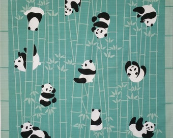 Japanese cotton furoshiki wrapping cloth -  panda bears and bamboo