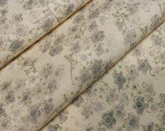 Tango chirimen crepe silk Kimono fabric - gray plum blossoms - by the yard