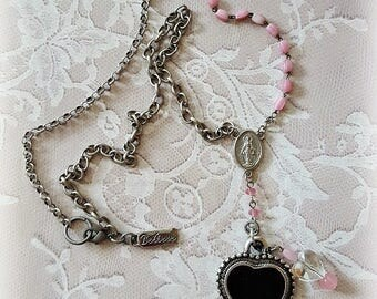 Black and Silver Heart Pendant, Rosary Beads, Rosary Connector, Religious Jewelry, Faith Necklace, Repurposed Upcycled Jewelry