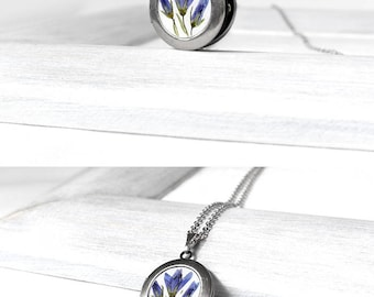 Birthday gift jewelry for mom Blue flower locket necklace Keepsake gift for best friend Memory jewelry for girlfriend Pretty jewelry wife