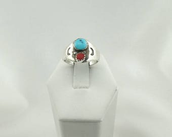 Vintage Turquoise and Coral Cabochons In A Traditional Southwest Native American Sterling Silver Ring  #TRADITIONAL-SR5