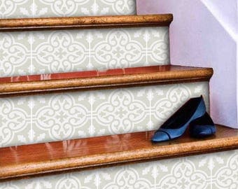 """Stair Riser Stickers - Removable Stair Riser Tile Decals - Floc Pack of 6 in Silver Birch - Peel & Stick Stair Riser Deco Strips - 48"""" long"""