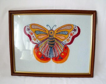 butterfly embroidery, hand sewn wall art, nursery picture, framed wildlife image, room decor, 15 x 12 inches