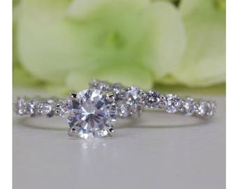 2.00 Ct. Absolutely Stunning Classic Eternity Fine Quality Cubic Zirconia Engagement Ring Set In Sterling Silver, Wedding Ring Set | #062