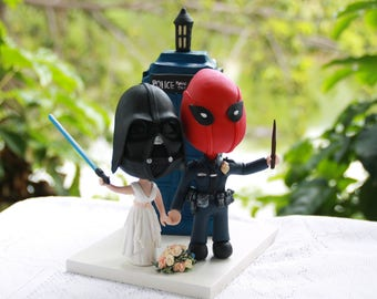 Vader Bride and Deadpool Groom, police - Dr. Who themed. Marvel/Star Wars cake topper. Couple holding hands.  Handmade. Fully customizable.