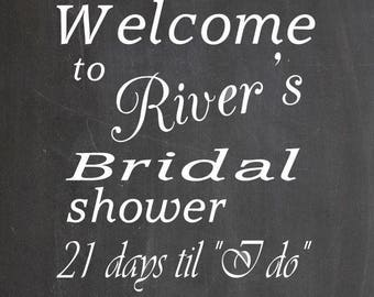 Welcome to (your name here) Bridal shower... wall decal, wall art, wedding decor, bridal shower decoration