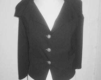 Issey Miyake  vintage #waiscoat with cape # black wool # top condition # size 3/ 38 EU