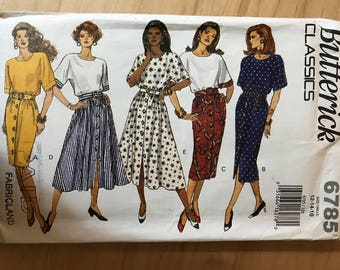 Butterick 6785 - 1990s Pullover Dress with Button Front Flared or Straight Skirt and Contast Bodice Option - Size 12 14 16