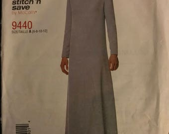McCalls 9440 - Easy to Sew Stitch N Save Ankle Length Dress with Jewel Neck and Long Sleeves - Size 6 8 10 12