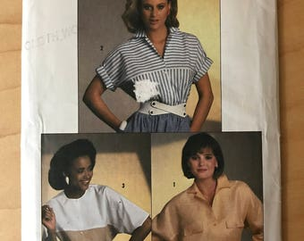 Simplicity 6707 - 1980s Button Front Blouse with Dolman Long or Short Leeves and Contras Yoke - Size 12 14 16