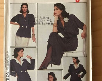 Style 4543 - 1980s Jacket, Button Front Blouse, and Mock Wrap Skirt - Size 14 16 18