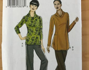 Vogue V8699 - Princess Seamed Top or Tunic with Cowl Neck and Pull On Pants with Cropped Option - Size 16 18 20 22 24