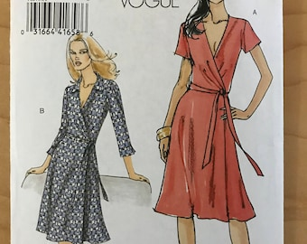 Vogue V8379 - Very Easy Wrap Front Dress with Deep v Neck and Flared Skirt in Knee Length - Size 16 18 20 22