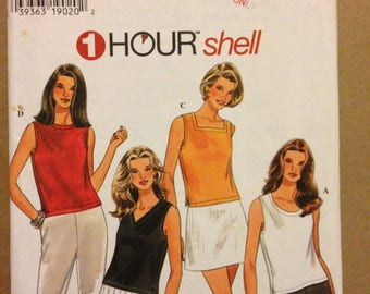 Simplicity 7189 One House Shell in Four Neckline Styles Square, Round, Scoop or V Neck - Size 18 20 22 24