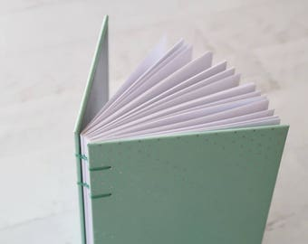 Silver Mint Coptic Notebook Coptic Journal Hardcover Travel Notebook Hand Bound Blank Book Writing Journal 160 Lined White Pages
