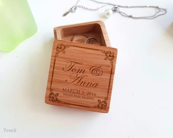 Wedding wood ring box, handmade personalized wedding ring bearer, custom bamboo ring box by TreeX