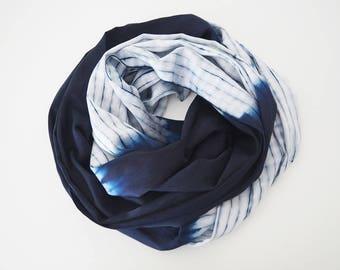 Indigo Silk Scarf, Shibori Silk Scarf, Indigo Shawl, Navy Blue Silk Scarf, Tie Dye Scarf, Stripe Scarf, Naturally Dyed Scarf, Beach Scarf