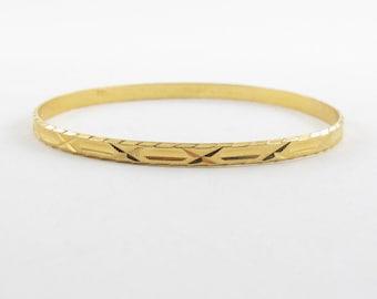 22K Bangle Bracelet Yellow Gold Ornate Slip on  7 Inches 12.1 grams