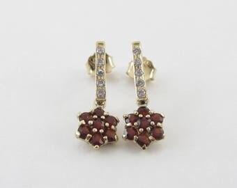 14k Yellow Gold Diamond And Garnet Dangling Flower Earrings