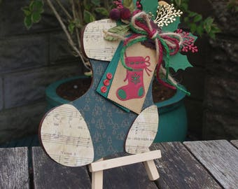Wooden Stocking Plaque - Stocking decoration, Christmas decor, Traditional christmas, Stocking decor, Christmas plaque, Gifts for her, Xmas