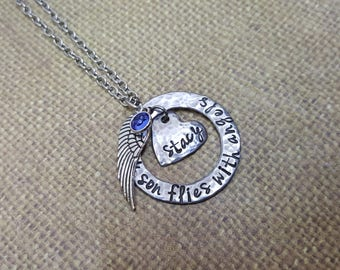 Custom MEMORIAL necklace with ANGEL wing and Birthstone