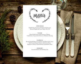 Wedding Menu Template, Rustic Kraft Heart Wreath Wedding Menu, wedding menu template, digital PDF, vintage wedding menu, DIY