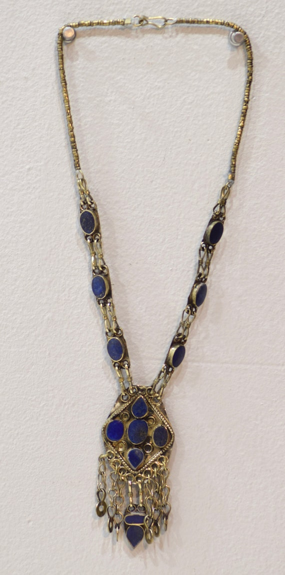"""Necklace Middle Eastern Blue Lapis Necklace Pendant 27.5"""""""