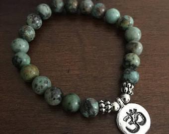 African Turquoise Bracelet, Healing Energy Bracelet Boho bead bracelets stretch bracelet, Handmade elastic bracelet, wrist mala, yoga aum om