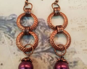 Rose Gold Hammered Rings  EE-130