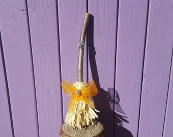 Halloween Broom, Pumpkin Charm, Wiccan Amulet, Samhain Broomstick, Autumn Witch Besom, Pagan Altar, Witchy Home Decor, Protection Decoration