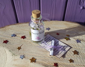 Miniature Fae Wish, Faery bottle, Message in a Bottle, Fairy Poem Jar, Mini Mythical Scroll, Pagan Beltane Altar, Unique Gift, Magical Charm