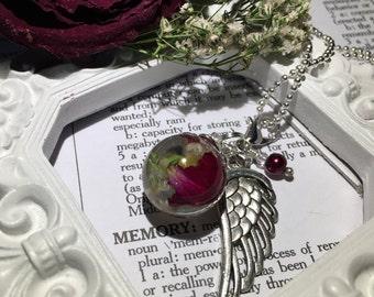Memorial Jewelry, Dried flower, funeral flower, rose pedal, Angel wing, Custom item