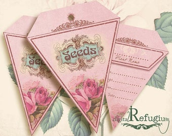 Seed Packets triangle flowery charm pink/ Digital Collage Sheet /gardening/ Instant Download/flowers/ printables