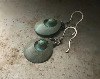 Rustic turquoise earrings, hand forged earrings, metal ink earrings