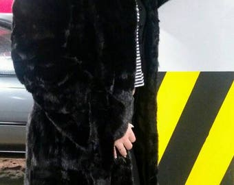 New,Natural Real BLACK Mink Fur Coat!