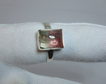 Tourmaline Cabochon Square Silver Ring