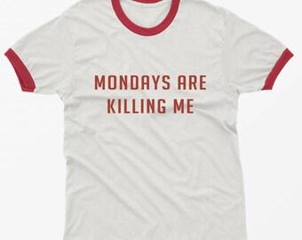 Monday shirt ringer tee funny tshirt graphic tees tumblr shirts with sayings clothing gift Womens T-shirts