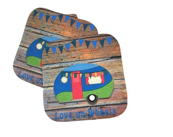 Camper, Glamper, Vintage Camper, Pot Holders, Hot Pads, Camping Decor, Love on Wheels